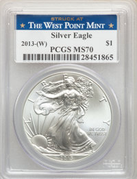 2013-W $1 Silver Eagle, Struck at West Point MS70 PCGS. PCGS Population: (29345). NGC Census: (14285). MS70. ...(PCGS# 5...