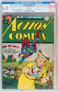 Action Comics #74 (DC, 1944) CGC FN 6.0 White pages