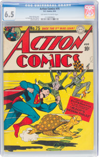 Action Comics #75 (DC, 1944) CGC FN+ 6.5 Off-white to white pages