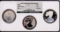 Three-Piece 20th Anniversary Silver Eagle Set NGC. This set includes: 2006-W MS69 NGC; 2006-P Reverse Proof PR69 NGC; an...
