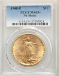 Saint-Gaudens Double Eagles: , 1908-D $20 No Motto MS63+ PCGS. PCGS Population: (1614/1928 and 37/55+). NGC Census: (1503/661 and 5/7+). CDN: $1,540.59.Wh...