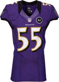 Football Collectibles:Uniforms, 2012-13 Terrell Suggs Game Worn Baltimore Ravens Jersey - Photo Matched to 1/6 Wild Card Game vs. Colts. ...