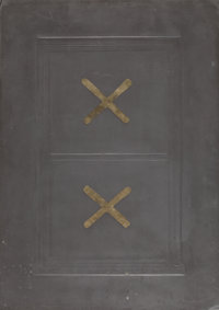 Eric Orr (1939-1998) Lead Window Gold X, 1979 Embossed lead and gold relief over wood backing 24 x 17 inches (61 x 43