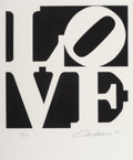 Prints:Contemporary, Robert Indiana (1928-2018). One Plate, from Book of Love, 1996. Screenprint in colors on A.N.W. Crestwood Museum Edi...