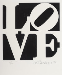 Robert Indiana (1928-2018) One Plate, from Book of Love, 1996 Screenprint in colors on A
