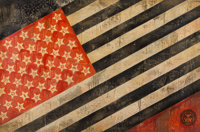 Shepard Fairey (b. 1970) Flag, 2010 Hand-painted multiple with acrylic, screenprint and collage on p