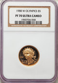 Modern Issues, 1988-W $5 Olympic Gold Five Dollar PR70 Ultra Cameo NGC. NGC Census: (3605). PCGS Population: (460). CDN: $398.93. Whsle. B...