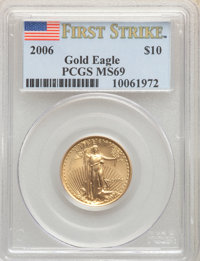 2006 G$10 Quarter-Ounce Gold Eagle, First Strike MS69 PCGS. PCGS Population: (7384/640). NGC Census: (0/0). MS69. ...(PC...