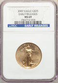 Modern Bullion Coins, 2007 $25 Half-Ounce Gold Eagle, Early Releases, MS69 NGC. PCGS Population: (636/40). MS69....