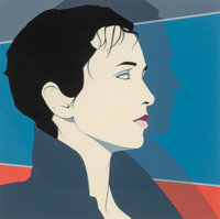 Patrick Nagel (American, 1945-1984) Lisa I, 1983 Acrylic on board 24-3/4 x 24-3/4 inches (62.9 x