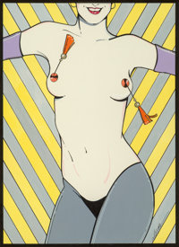 Patrick Nagel (American, 1945-1984) No Hassle Tassle, Playboy illustration, circa 1980 Acrylic and p