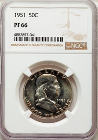 Five-Piece 1951 Proof Set PR66 to PR68 NGC. Individually Housed. The Set Includes: Cent PR66 Red; Nickel PR67★ ; Dime P...