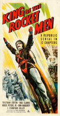 "Movie Posters:Serial, King of the Rocket Men (Republic, 1949). Fine+ on Linen. Three Sheet (41"" X 80"").. ..."