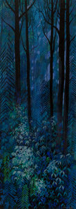 Fine Art - Painting, American, Eyvind Earle (American, 1916-2000). Blue Forest, 1954. Oil on Masonite. 48 x 18 inches (121.9 x 45.7 cm). Signed and dat...