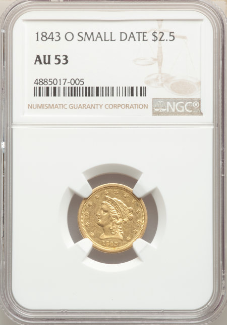 1843-O $2 1/2 Small Date, Crosslet 4 53 NGC