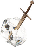 Miscellaneous, A James Houston for Steuben Excalibur Silver and Gold Letter Opener and Glass Paperweight, . ...