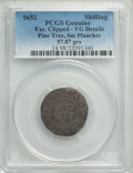 1652 Pine Tree Shilling, Small Planchet -- Exc. Clipped -- PCGS Genuine. VG Details. PCGS Population: (3/454). NGC Censu...