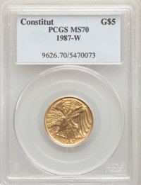 1987-W $5 Constitution Gold Five Dollar MS70 PCGS. PCGS Population: (1302). NGC Census: (5088). CDN: $384.95.Whsle. Bid...