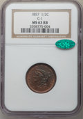 Half Cents, 1857 1/2 C MS63 Red and Brown NGC. CAC. C-1. PCGS Population: (92/55). CDN: $600 Whsle. Bid for prob...
