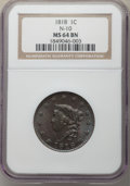 Large Cents, 1818 1C N-10, R.1, MS64 Brown NGC. NGC Census: (10/2). PCGS Population: (2/0). MS64. ...