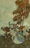 Fine Art - Work on Paper, Edmund Dulac (British, 1882-1953). The Masqueraders, 1907. Watercolor on paper. 18-3/4 x 11-5/8 inches (47.6 x 29.5 cm) ...