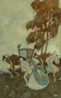 Edmund Dulac (British, 1882-1953) The Masqueraders, 1907 Watercolor on paper 18-3/4 x 11-5/8 inch