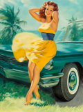 Fine Art - Painting, American, William Medcalf (American, 1920-2005). Pin-Up in Yellow Dress. Oil on Masonite. 40 x 30 inches (101.6 x 76.2 cm). Signed...