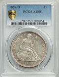 Seated Dollars: , 1859-O $1 AU55 PCGS Secure. PCGS Population: (82/548 and 0/13+). NGC Census: (53/383 and 0/5+). AU55. Mintage 360,000. ...