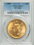 Saint-Gaudens Double Eagles: , 1908 $20 No Motto MS65 PCGS. PCGS Population: (25770/9991). NGC Census: (10566/4841). MS65. Mintage 4,271,551. ...