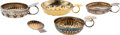 Miscellaneous, A Group of Four French Silver and Silver-Plated Tastevins with One Silver-Plated Shell-Form Spoon Rest, . ...