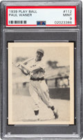 Baseball Cards:Singles (1930-1939), 1939 Play Ball Paul Waner (Title Case) #112 PSA Mint 9 - Pop Five, None Higher. ...