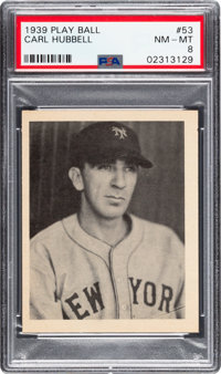 1939 Play Ball Carl Hubbell (Title Case) #53 PSA NM-MT 8
