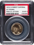 Baseball Cards:Singles (Pre-1930), 1910-12 P2 Sweet Caporal Pins Cy Young (Large Letters) PSA EX-MT 6. ...