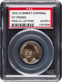 1910-12 P2 Sweet Caporal Pins Cy Young (Large Letters) PSA EX-MT 6