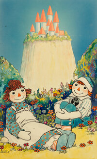 Johnny Gruelle (American, 1880-1938) Raggedy Ann's Magical Wishes book cover, 1928 Watercolor and ink on board 16-1/2