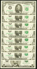 Small Size:Federal Reserve Notes, $5 Federal Reserve Notes Eight Examples.. ... (Total: 8 notes)