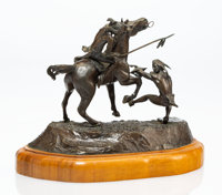 """Lewis Murray """"Bud"""" Boller (American, 1928-2012) Deadly Enemies, 1971 Bronze with polychrome 4 inc"""