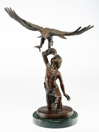 Stanley Quentin Johnson (American, 1939-2017) Eagle Boy II, 1988 Bronze with polychrome 18-3/8 in