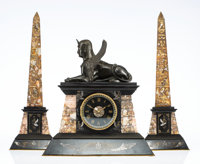 A Three-Piece French Egyptian Revival-Style Bronze and Marble Clock Garniture, 20th century 15-3/4 x 15 x 7-1/2 inches (...