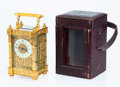 Timepieces, A French Gilt Bronze and Beveled Glass Carriage Clock with Leather Case, circa 1900. 6 x 3-1/8 x 2-5/8 inches (15.2 x 7.9 x ...