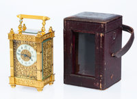 A French Gilt Bronze and Beveled Glass Carriage Clock with Leather Case, circa 1900 6 x 3-1/8 x 2-5/8 inches (15.2