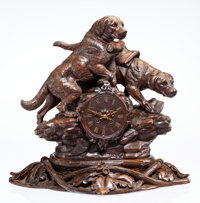 A Black Forest Carved Hardwood Clock with Two Dog Figures on Stand, Germany, early 20th century 19-3/4 x 22 x 14 i