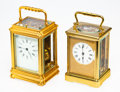 Clocks & Mechanical, Two French Brass and Beveled Glass Carriage Clocks, early 20th century. Marks: Stamped to works (R & C cipher), 607;... (Total: 2 Items)