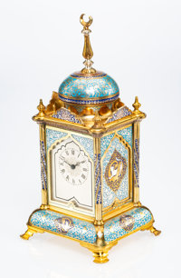 A French Arabesque Cloisonné Enameled and Gilt Bronze and Glass Mantle Clock, early 20th century Marks to mechani...