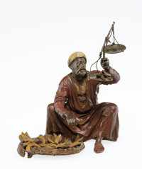 A Franz Bergman Vienna Cold Painted Bronze Fruit Seller Figure, early 20th century Marks: 3819, GESCH