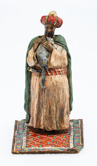 A Franz Bergman Austrian Cold-Painted Bronze Naughty Sultan Metamorphic Figure, early 20th century Marks: (B-ampho