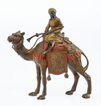 A Vienna Cold Painted Bronze Sultan on Camel Figural Group, early 20th century Marks: AUSTRIA 8 x 2