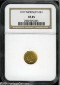 Commemorative Gold: , 1917 G$1 McKinley XF45 NGC....