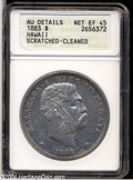 Coins of Hawaii: , 1883 S$1 Hawaii Dollar--Scratched, Cleaned--ANACS. AU Details, NetXF45....