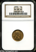 Lincoln Cents: , 1933 1C MS66 Red NGC. ...
